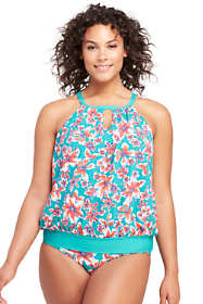 Women's Plus Size High-neck Blouson Tankini Top