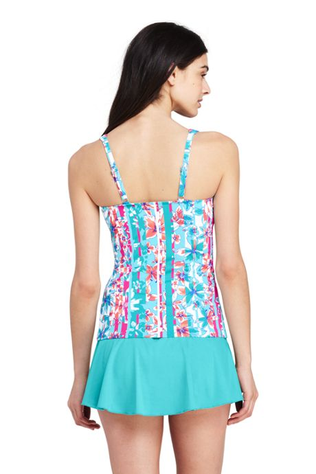 Women's Petite Underwire Square Neck Tankini Top
