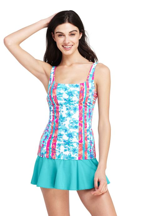 Women's Long Underwire Square Neck Tankini Top