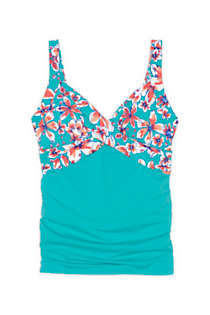 Women's Long Underwire Wrap Tankini Top, Front