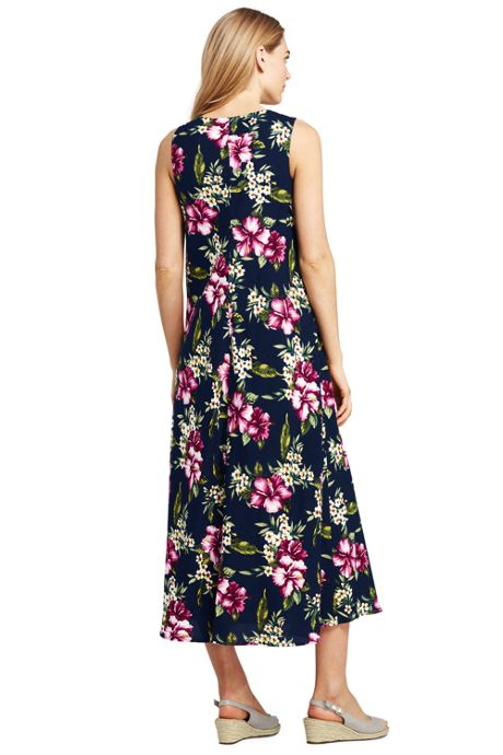 Women's Petite Sleeveless Woven V-neck Midi Hoffman Floral Trapeze Dress