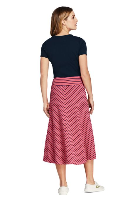 Women's Petite Stripe Knit Midi Skirt