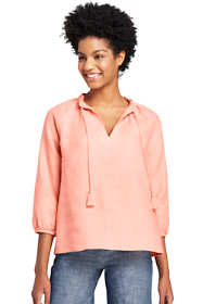 Women's Petite Ruffle Neck Linen Top