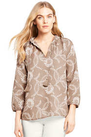 Women's Floral Ruffle Neck Linen Top