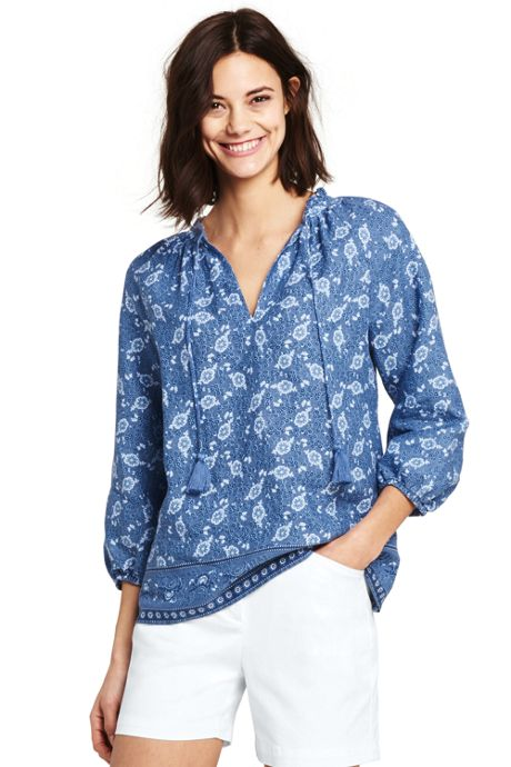 Women's Print Ruffle Neck Linen Top