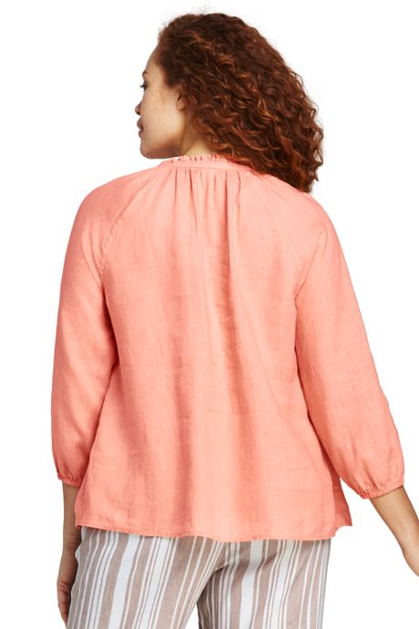 Women's Plus Size Ruffle Neck Linen Top