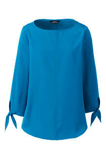 Women's Bracelet Sleeve Tie Detail Soft Blouse, Front