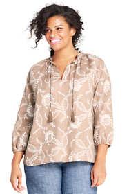 Women's Plus Size Floral Ruffle Neck Linen Top