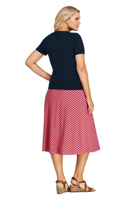 Women's Plus Size Stripe Knit Midi Skirt