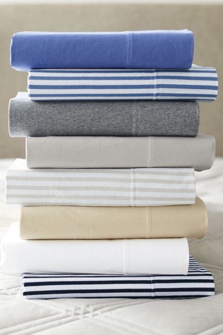 Cotton Knit Stripe Sheet Set