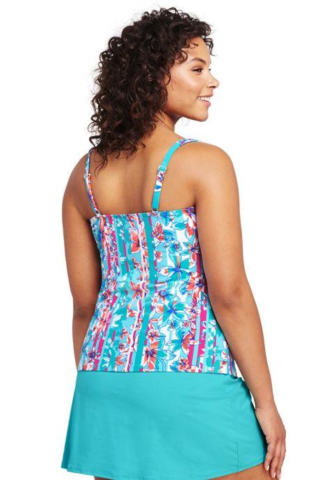 Women's Plus Size Underwire Squareneck Tankini Top