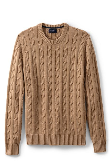 Men's Tall Cotton Drifter Cable Crew Sweater