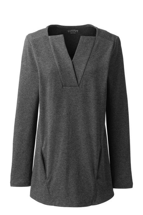 Women's Plus Size Long Sleeve Modern V-neck Tunic