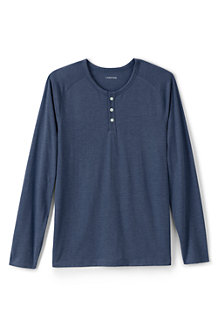 Men's Washed Jersey Long Sleeve Henley T-shirt