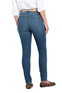 Women's Curvy Mid Rise Skinny Jeans - Blue , Back