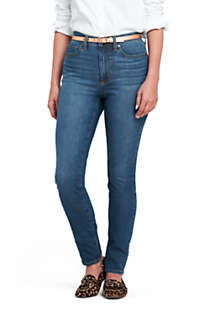 Women's Curvy Mid Rise Skinny Jeans - Blue , Front