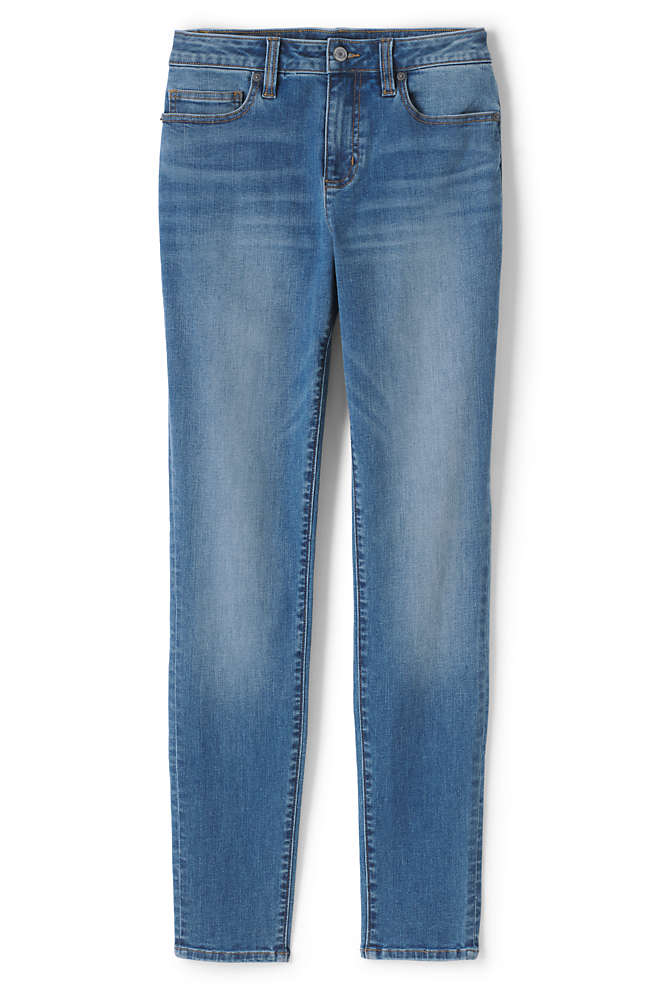 Women's Petite Curvy Mid Rise Skinny Jeans - Blue , Front
