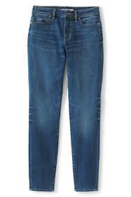 Women's Petite Curvy Mid Rise Skinny Jeans - Blue