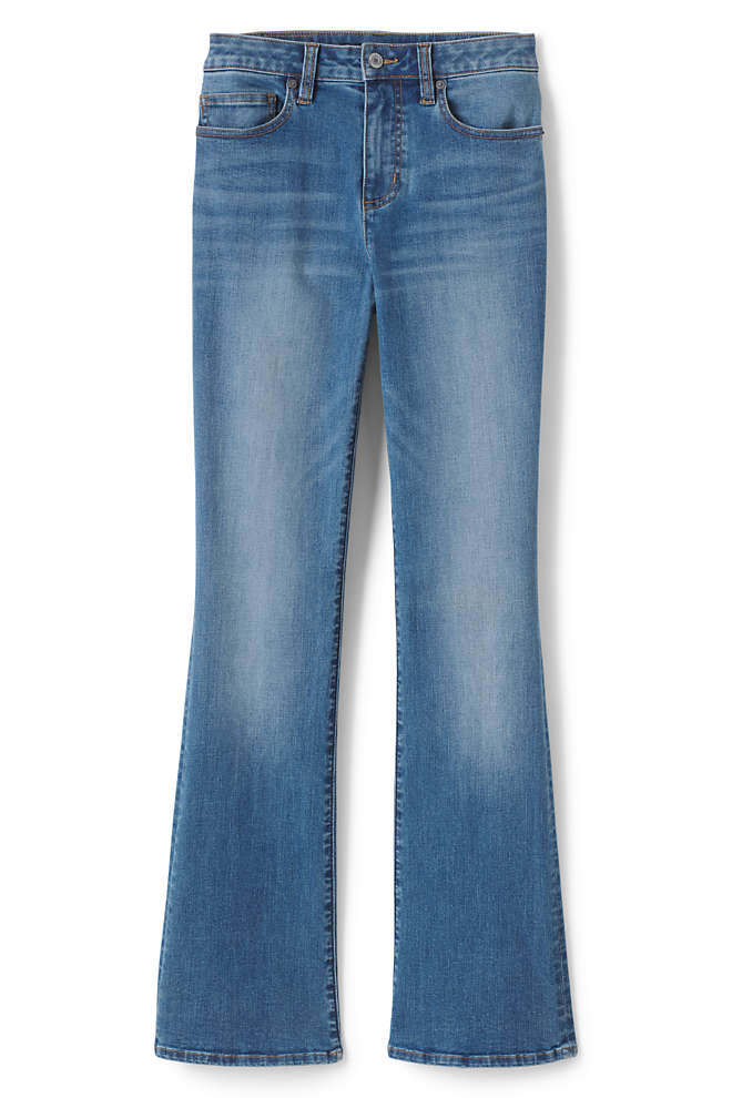 Women's Curvy Mid Rise Bootcut Jeans - Blue, Front