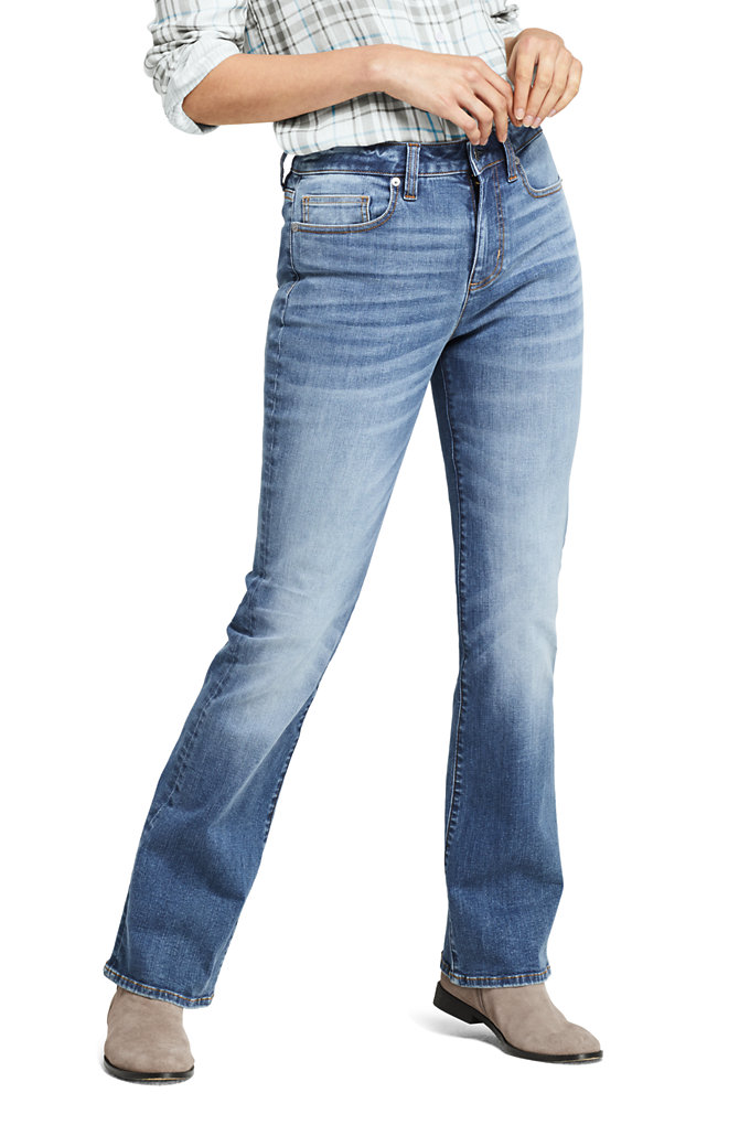 Women's Curvy Mid Rise Bootcut Jeans - Blue - Lands' End