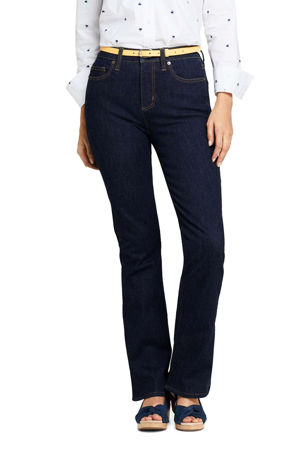 c44cda35851 Women s Mid Rise Curvy Boot Cut Jeans from Lands  End