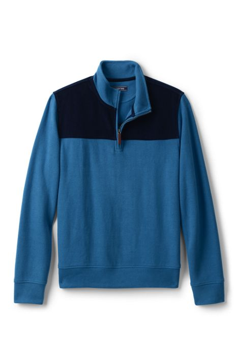 Men's Corduroy Blocked Bedford Rib Quarter Zip Sweater