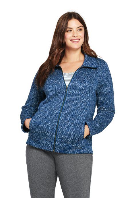 Women's Plus Size Textured Sweater Fleece Jacket