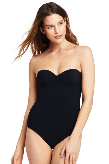 Women's Underwire Bandeau One Piece Swimsuit