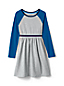 Girls' Long Sleeve Dress, Colourblock Cotton Jersey