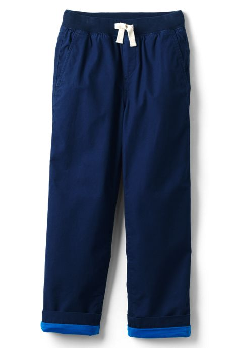 Boys Slim Lined Iron Knee Pull on Pants