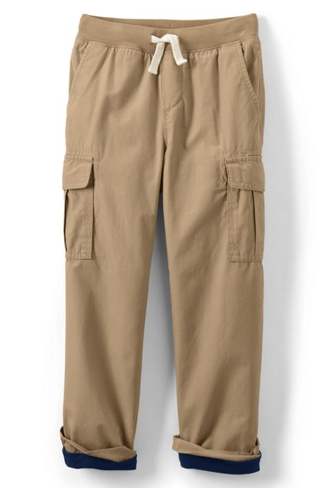 Little Boys Slim Lined Iron Knee Pull on Cargo Pants