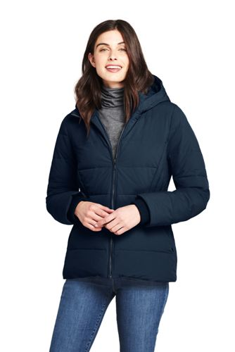 Women's Plus Hooded Faux Fur Lined Down Jacket with Stretch