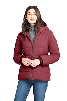 Women's Hooded Faux Fur Lined Down Jacket with Stretch