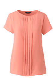 Women Plus Size Short Sleeve Pleated Keyhole Crepe Blouse