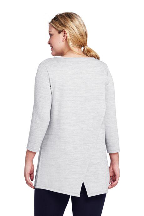 Women's Plus Size 3/4 Sleeve Envelope Back Tunic