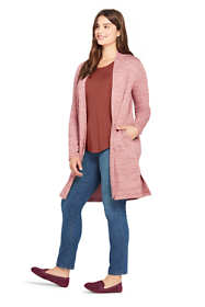 Women's Plus Size Long Sleeve Knit Duster Cardigan