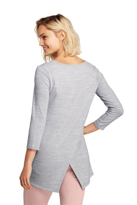 Women's Petite 3/4 Sleeve Envelope Back Tunic