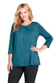 Women's Plus Size 3/4 Sleeve Jersey Knot Neck Tunic