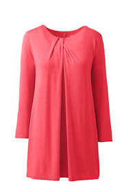 Women's Petite 3/4 Sleeve Jersey Knot Neck Tunic
