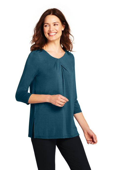 Women's 3/4 Sleeve Jersey Knot Neck Tunic