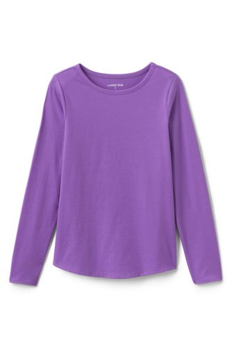 Lands' End Girls' Long Sleeve Jersey T-shirt - 8-9 years, Purple thumbnail