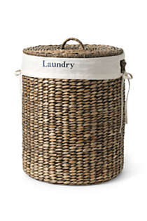 Seagrass Round Lidded Laundry Hamper, Front