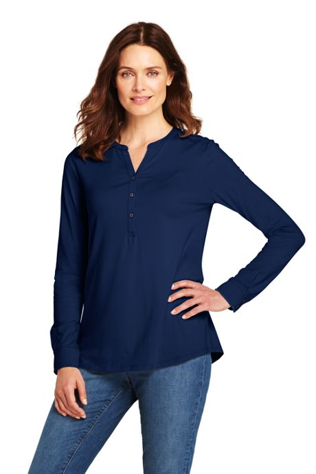 Women's Petite Long Sleeve Button Cuff Tunic