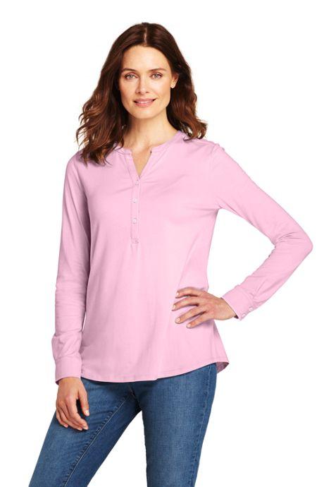 Women's Petite Long Sleeve Button Cuff Tunic