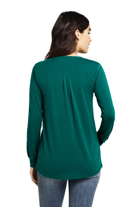 Women's Petite Long Sleeve Button Cuff Tunic Top