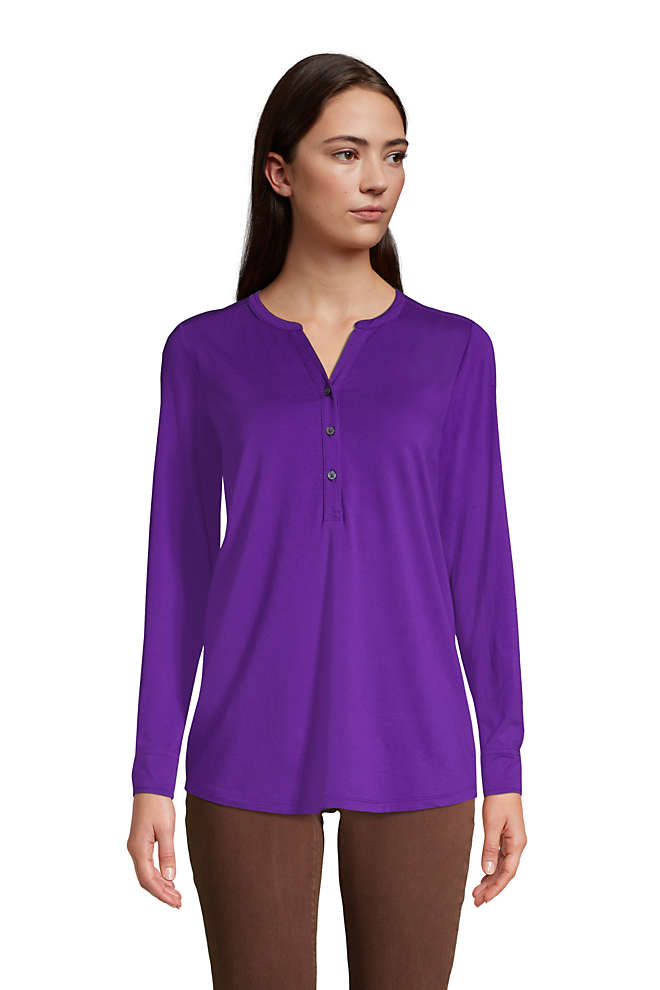 Women's Long Sleeve Button Cuff Tunic Top, Front