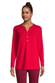 Women's Tall Long Sleeve Button Cuff Tunic Top