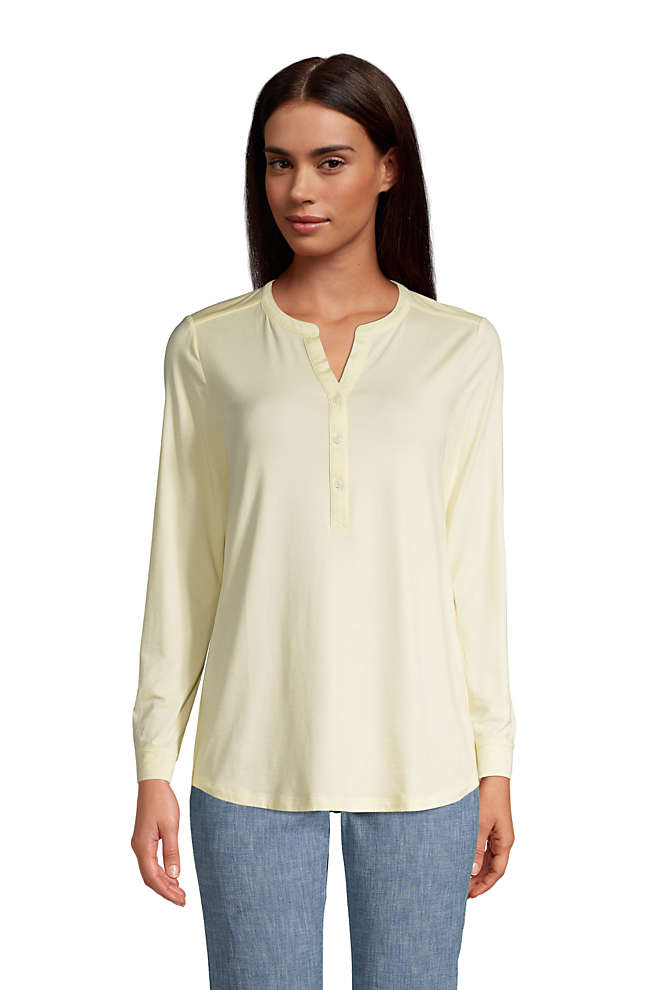Women's Tall Long Sleeve Button Cuff Tunic Top, Front
