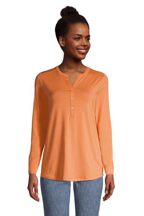 Women's Tall Long Sleeve Button Cuff Tunic Top