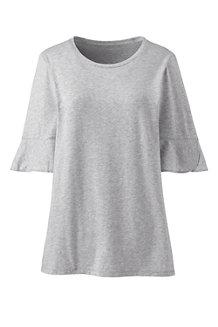 Le T-Shirt en Coton/Modal Stretch Manches à Volants, Femme